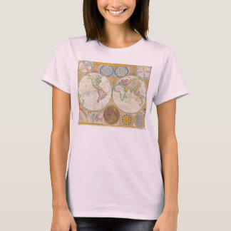 1794 Samuel Dunn Map of the World in Hemispheres T-Shirt