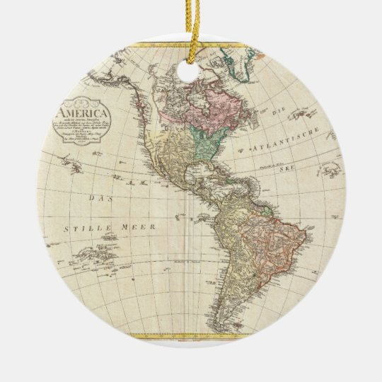1796 Mannert Map of North and South America Ceramic Ornament