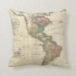 1796 Mannert Map of North and South America Throw Pillows