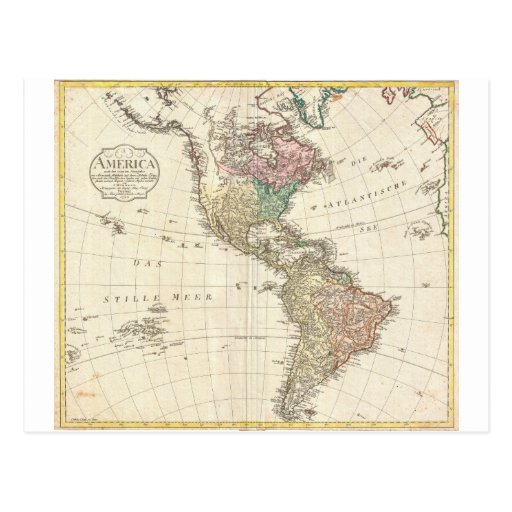 1796 Mannert Map of North and South America Postcards
