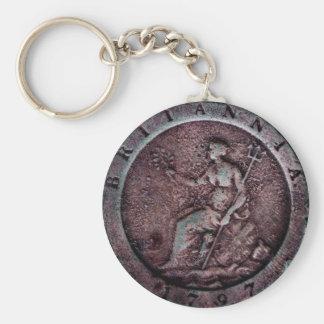 "1797 British ""cartwheel"" penny keychain"