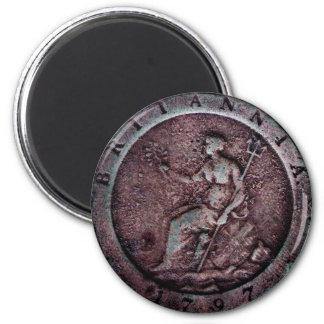 "1797 British ""cartwheel"" penny magnet"
