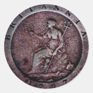 "1797 British ""cartwheel"" penny  sticker"