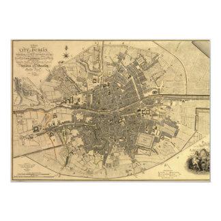 1797 Map of Dublin Ireland 5x7 Paper Invitation Card
