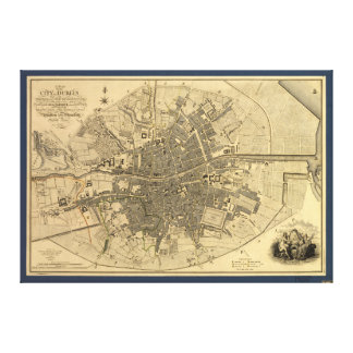 1797 Map of Dublin Ireland Canvas Print