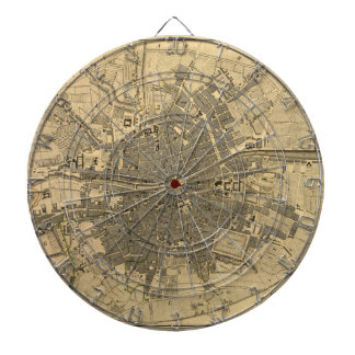 1797 Map of Dublin Ireland Dartboard With Darts