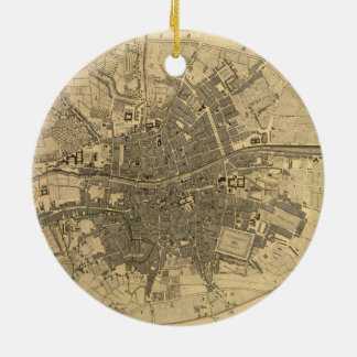 1797 Map of Dublin Ireland Double-Sided Ceramic Round Christmas Ornament