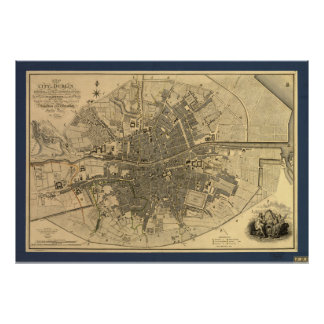 1797 Map of Dublin Ireland Poster