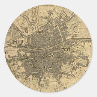 1797 Map of Dublin Ireland Round Stickers