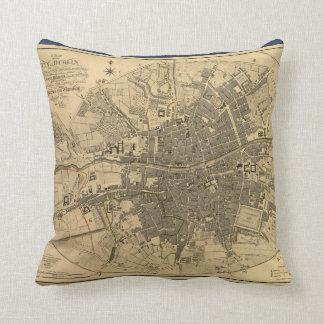 1797 Map of Dublin Ireland Throw Pillow