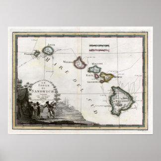 1798 Map Le Isole di Sandwich Poster