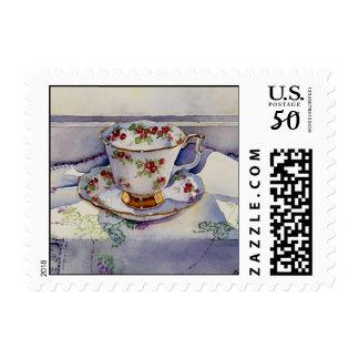 1799 Antique Teacup on Linen Postage