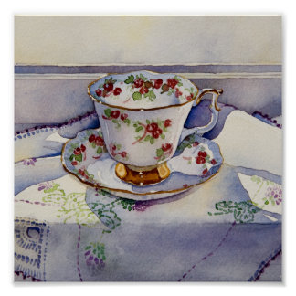 1799 Teacup on Linen Art Print