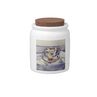 1799 Teacup on Linen Candy Jars