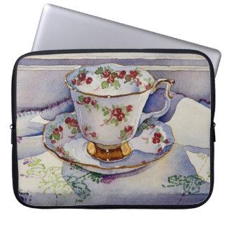 1799 Teacup on Linen Computer Sleeve