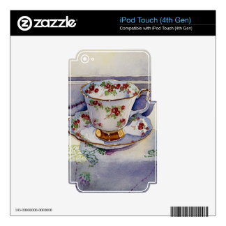 1799 Teacup on Linen Decals For iPod Touch 4G