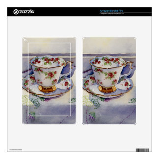 1799 Teacup on Linen Kindle Fire Decals