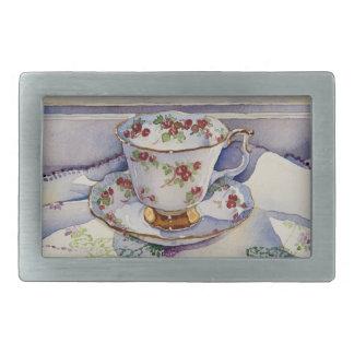 1799 Teacup on Linen Rectangular Belt Buckle