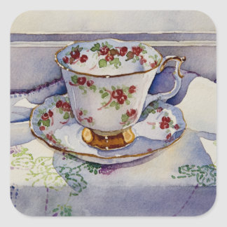1799 Teacup on Linen Square Sticker