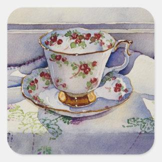 1799 Teacup on Linen Square Sticker