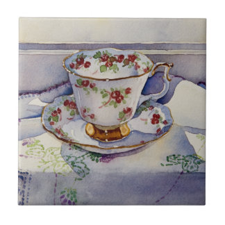 1799 Teacup on Linen Tile