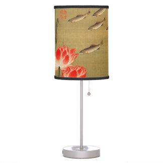 17. 蓮池遊魚図, 若冲 Pond with The Lotus, Jakuchū Table Lamp
