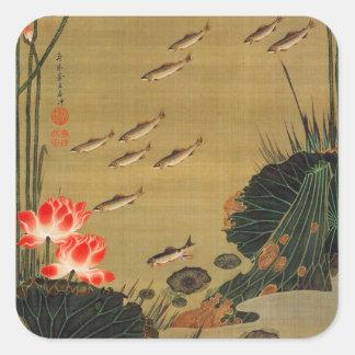 17. 蓮池遊魚図, charca con Lotus, Jakuchū del 若冲 Pegatina Cuadrada