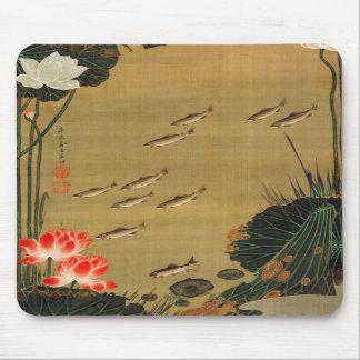 17. 蓮池遊魚図, charca con Lotus, Jakuchū del 若冲 Alfombrilla De Ratones