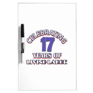17 años de diseños del cumpleaños tableros blancos