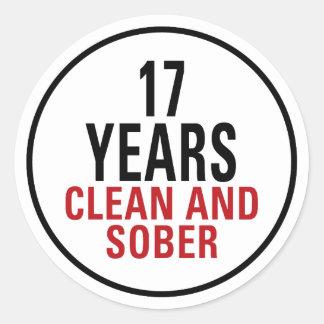 17 años limpian y calman pegatina redonda