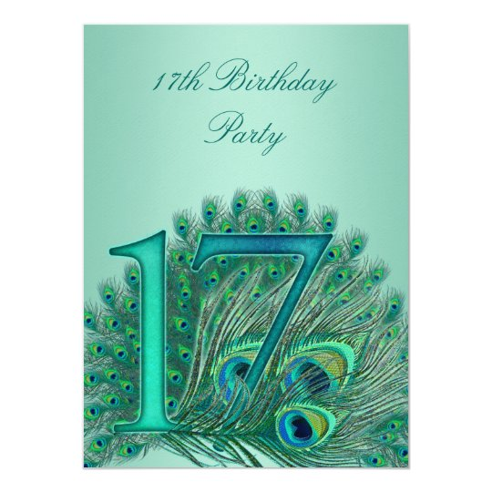 17 birthday peacock template age number