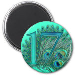 17 birthday peacock template age number 2 inch round magnet