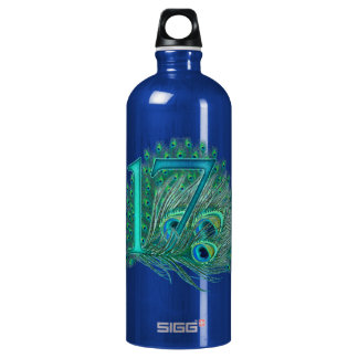 17 birthday peacock template age number aluminum water bottle