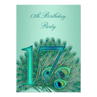 17 birthday peacock template age number card