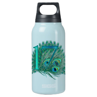 17 birthday peacock template age number insulated water bottle
