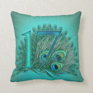 17 birthday peacock template age number pillow