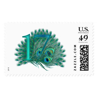 17 birthday peacock template age number postage stamp