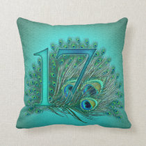 17 birthday peacock template age number throw pillow