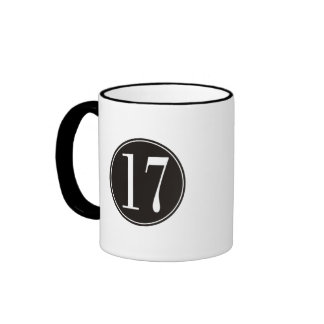 #17 Black Circle (front) Ringer Coffee Mug