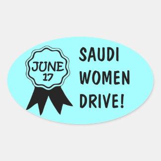 17 de junio las mujeres del saudí conducen al calcomanía ovaladas personalizadas