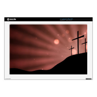 """17"""" Laptop For Mac & PC - Cross With Red Starburst Laptop Decal"""