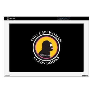 "17"" Laptop Mac/PC Skin Smart Cavewoman Reads Books Laptop Skins"