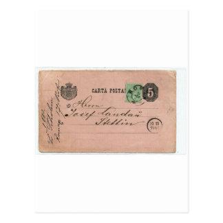 !!! 17 Nov 1882: postal card sent by Herr Scholem Postcard
