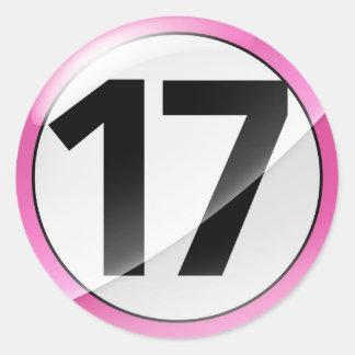 17 pink sticker