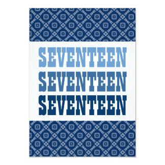 17 TEEN Birthday Modern Navy V07 Card