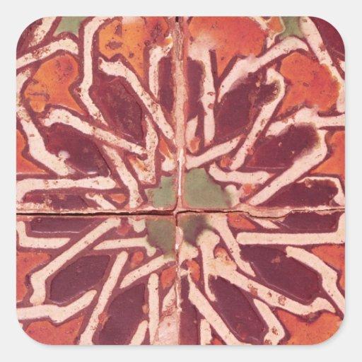 17: Teja de Isnik, siglo XVI Calcomanías Cuadradass Personalizadas