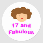 ¡17 y fabuloso! pegatinas redondas