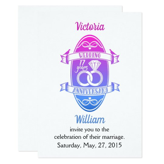 17 Year 17th Wedding Anniversary Invitation