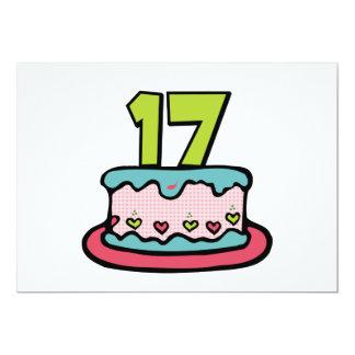 "17 Year Old Birthday Cake 5"" X 7"" Invitation Card"