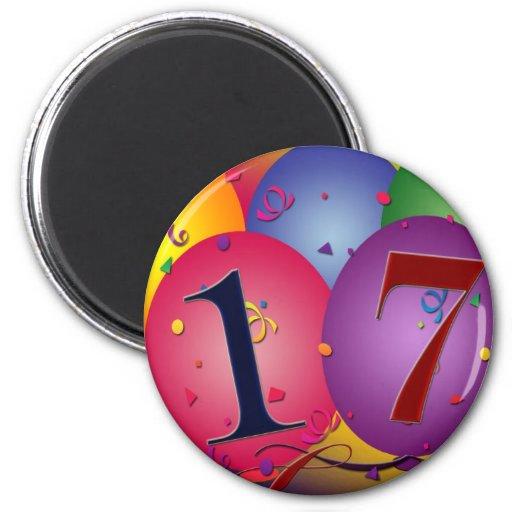 17 Years!  Birthday Balloons 2 Inch Round Magnet